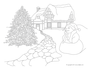 Winter Coloring Page for Adults