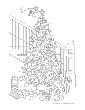 Christmas Tree Coloring Page for Adults