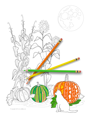 Autumn Coloring Page for Adults