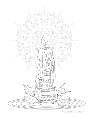 Candle Coloring Page for Adults